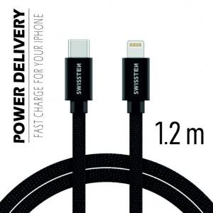 DATOVÝ KABEL SWISSTEN TEXTILE USB-C / LIGHTNING 1,2 M ČERNÝ