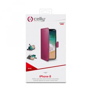 Pouzdro typu kniha CELLY Wally pro Apple iPhone X/XS, PU kůže, růžové