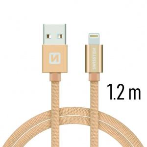 DATOVÝ KABEL SWISSTEN TEXTILE USB / LIGHTNING 1,2 M ZLATÝ