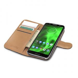Pouzdro typu kniha CELLY Wally pro Motorola Moto G6, PU kůže, černé