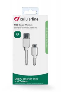 USB datový kabel Cellularline s USB-C konektorem, 60 cm, bílý