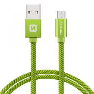 DATOVÝ KABEL SWISSTEN TEXTILE USB / MICRO USB 2,0 M ZELENÝ