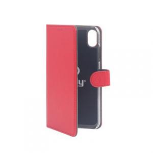 Pouzdro typu kniha CELLY Wally pro Apple iPhone XS Max, PU kůže, červené