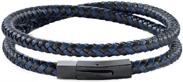 Pánský modro-černý kožený náramek Moody SQH16