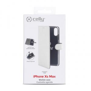 Pouzdro typu kniha CELLY Wally pro Apple iPhone XS Max, PU kůže, bílé