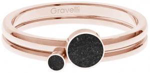 Sada ocelových prstenů s betonem Double Dot bronzová/černá GJRWRGA108