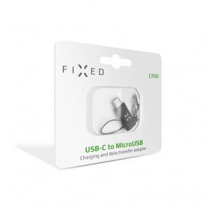 Redukce FIXED Link pro nabíjení a datový přenos z USB-C na microUSB, černá