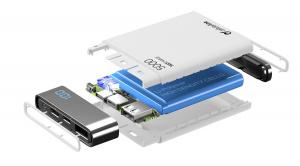 Kompaktní powerbanka Cellularline FreePower Manta HD, 5000 mAh, Lightning + USB-C port, MFI certifikace, bílá