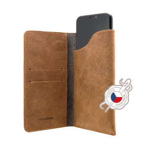 Kožené pouzdro FIXED Pocket Book pro Apple iPhone X/XS, hnědé