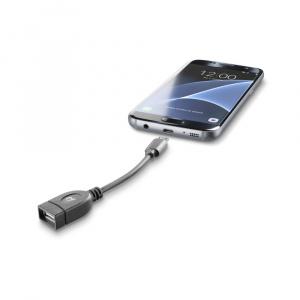 Datový microUSB OTG/USB kabel a adaptér CELLULARLINE, černý