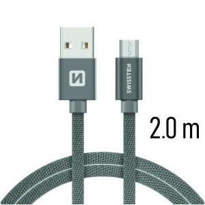 DATOVÝ KABEL SWISSTEN TEXTILE USB / MICRO USB 2,0 M ŠEDÝ