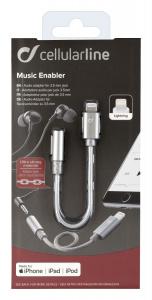 Adaptér Cellularline Music Enabler z konektoru Lightning na 3,5 mm jack, MFI certifikace, šedý