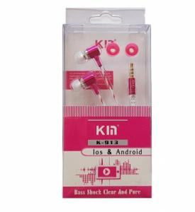 Hands Free KIN K-913 Super Bass 3,5 mm jack, barva růžová