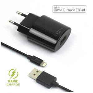 Síťová nabíječka FIXED s odnímatelným Lightning kabelem, MFI certifikace, 2,4A, černá