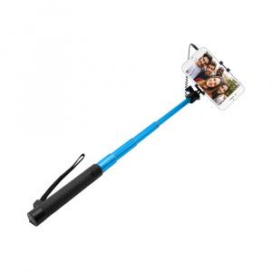 Teleskopický selfie stick FIXED v luxusním hliníkovém provedení, 3,5 mm jack, modrý