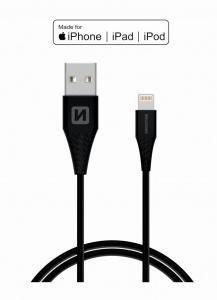 DATOVÝ KABEL SWISSTEN TPE USB / LIGHTNING MFi 1,2 M ČERNÝ