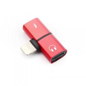 Adaptér SHORT HF/audio + nabíjení iPhone Lightning barva červená