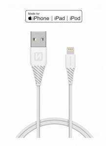 DATOVÝ KABEL SWISSTEN TPE USB / LIGHTNING MFi 1,2 M BÍLÝ