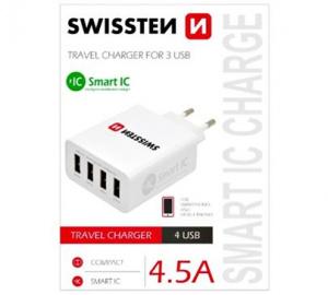 Nabíječ cestovní SWISSTEN 4xUSB 4,5A SMART IC, bílá (BLISTR)