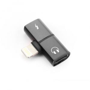 Adaptér SHORT HF/audio + nabíjení iPhone Lightning barva černá
