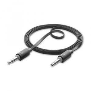 Audio kabel 2m CELLULARLINE AUX AUDIO LONG, AQL® certifikace, plochý, 2 x 3,5mm jack, černý