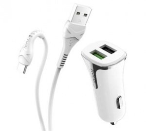 Adapter CL HOCO Z31, 2x USB, 3,4A, USB-C kabel, bílá
