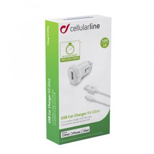 Autonabíječka CELLULARLINE Ultra v setu s datovým kabelem s konektorem Lightning, 1xUSB, 2A, bílá