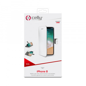 Pouzdro typu kniha CELLY Wally pro Apple iPhone X/XS, PU kůže, bílé