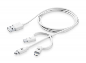 USB kabel CellularLine se třemi adaptéry Lightning + Micro USB + USB-C, bílý