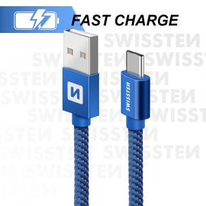DATOVÝ KABEL SWISSTEN TEXTILE USB / USB-C 0,2 M MODRÝ
