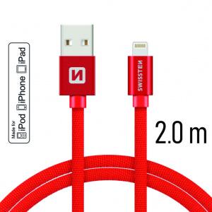 DATOVÝ KABEL SWISSTEN TEXTILE USB / LIGHTNING MFi 2,0 M ČERVENÝ