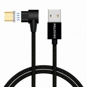 MAGNETICKÝ TEXTILNÍ DATOVÝ KABEL SWISSTEN ARCADE USB / MICRO USB 1,2 M ČERNÝ