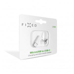 Redukce FIXED Link pro nabíjení a datový přenos z microUSB na USB-C, bílá