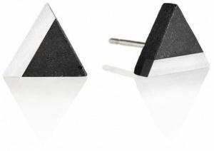 Peckové náušnice z betonu a oceli Triangle Steel GJEWSSA003UN