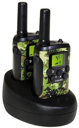 Vysílačka EVOLVEO FREETALK XM2 Camuflage  (2ks, stojánek, 8km, 8kanálů)