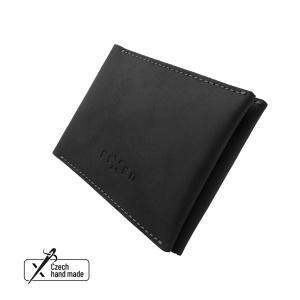 Kožená peněženka FIXED Wallet z pravé hovězí kůže, černá