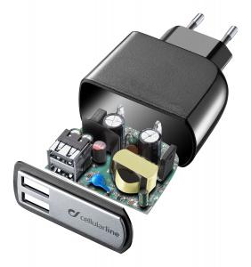Síťová nabíječka Cellularline s 2 x USB konektorem, 15W/3.1A, černá
