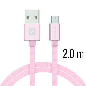 DATOVÝ KABEL SWISSTEN TEXTILE USB / MICRO USB 2,0 M RŮŽOVO/ZLATÝ