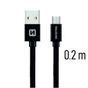 DATOVÝ KABEL SWISSTEN TEXTILE USB / MICRO USB 0,2 M ČERNÝ