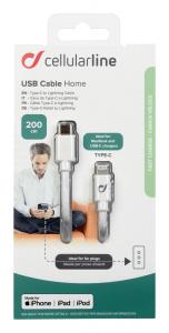 USB-C datový kabel CellularLine s konektorem Lightning, 200 cm, bílý