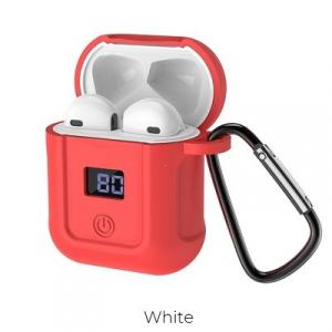 Bluetooth headset HOCO S11 barva bílá + červené pouzdro + lightning USB kabel + karabina