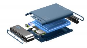 Kompaktní powerbanka Cellularline FreePower Manta HD, 5000 mAh, USB-C + USB port, rychlé nabíjení, modrá