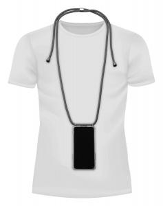 Transparentní zadní kryt Cellularline Neck-Case s černou šňůrkou na krk pro Apple iPhone X/XS