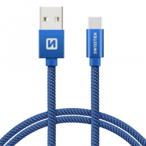 DATOVÝ KABEL SWISSTEN TEXTILE USB / USB-C 1,2 M MODRÝ