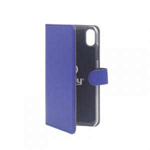 Pouzdro typu kniha CELLY Wally pro Apple iPhone XS Max, PU kůže, modré