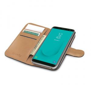 Pouzdro typu kniha CELLY Wally pro Samsung Galaxy J6 (2018), PU kůže, černé