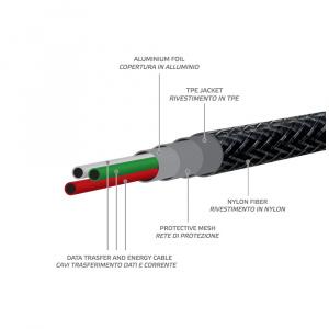 Datový USB kabel CELLY s Lightning konektorem, nylonový obal, 25 cm, černý
