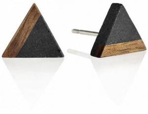Peckové náušnice z betonu a dřeva Triangle Wood GJEWWOA003UN