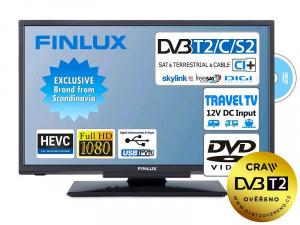 Finlux LED TV 22FDMC4760 DVB-T2/S2/C, DVD přehrávač, 12V, ultratenká