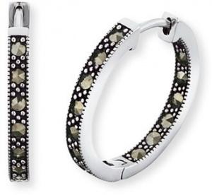 Stříbrné náušnice kruhy Lisa s markazity ERE-LISA-MA-CR